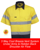 Hi Vis S/S Cotton Twill Shirts 3 Way Cool Breeze