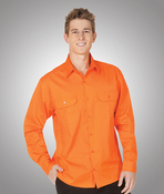 Hi-Viz 155gsm All Orange Cotton Twill Shirt Day Use
