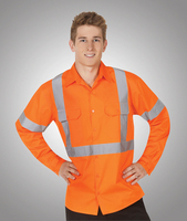 Hi-Viz 155gsm All Orange Cotton Twill Shirts Day/Night Use