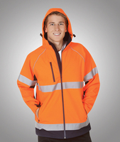 Hooded Hi-Viz Soft Shell Jackets Day/Night Use