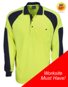 Hi Vis Cooldry Side Panel Polo long Sleeve