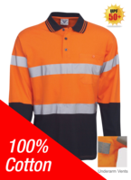 BB 100% Cotton Day/Night Hi Vis Polo Long Sleeve