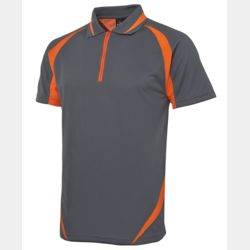 Podium Zip Poly Polo Grey/Orange Thumbnail