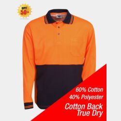 Cotton Back True Dry Hi Vis Polo Long Sleeve Thumbnail