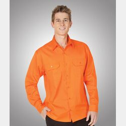 Hi-Viz 155gsm All Orange Cotton Twill Shirt Day Use Thumbnail