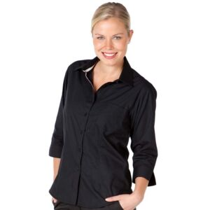 JB's Ladies Contrast Placket 3/4 Shirt  Thumbnail