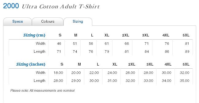 gildan ultra cotton size chart: Gildan 2000b size chart mannemall a collection of online stores