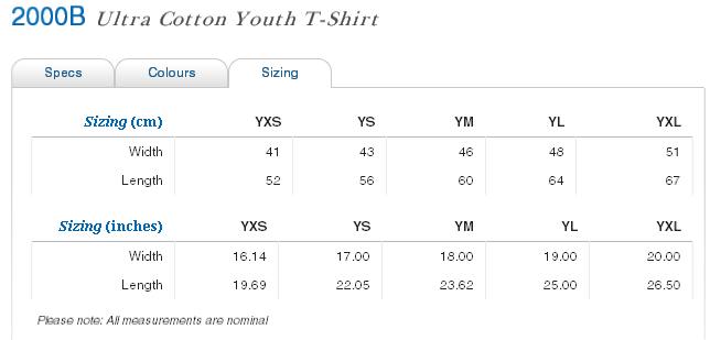 Gildan 2000b youth ultra cotton tee holyshirt custom for Gildan t shirt size chart